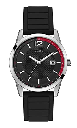 Guess Perry Black Dial Silicone Strap Mens Watch W0991G1