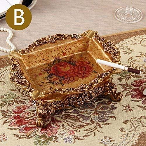 葉巻灰皿, 大型灰皿クリエイティブパーソナリティ多機能灰皿リビングルームベッドルームリビングルームテーブルデコレーション、Fヨーロッパの緑の花、カラー:Eヨーロピアンスタイルレッド英語 (Color : A European Red Flowers)