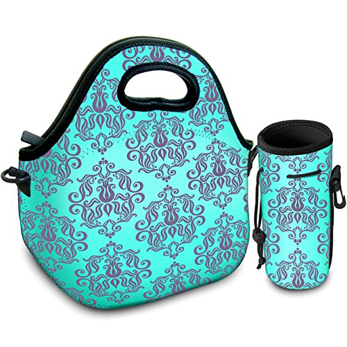 Neoprene Reuable Lunchbox Tote Lunch Bag For Women, Adults, Kids, Girls, and Teen Girls With Bottle Cooler | Rugged Zipper | With Adjustable Strap | For Snacks, Lunch, School, Work, Picnic
