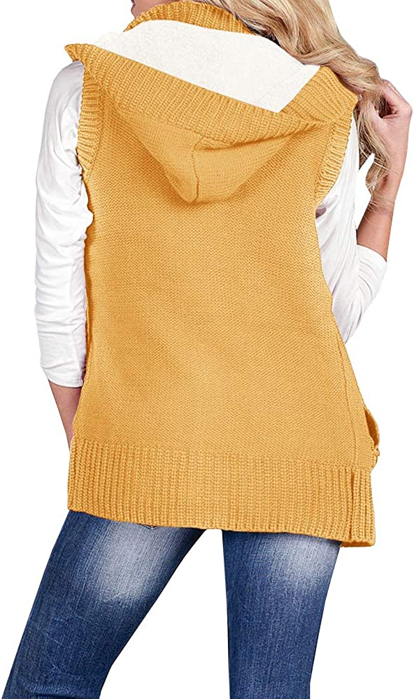 Imily Bela Womens Cable Knit Sleeveless Hoodies Button Down Sweater Vest with Pockets