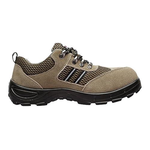 NiSeng Hombres cuero de imitación botas de seguridad para invierno casual zapatos deportivos # Caqui 37