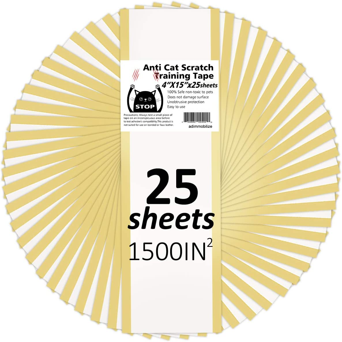 adimmobilize Anti Cat Scratch Tape 25 Sheets x 4 x 15 Inches, Cat Scratch Deterrent Training Tape for Couch, Furniture, Door, 100% Transparent Clear, Removable, Residue-Free, Non-Toxic