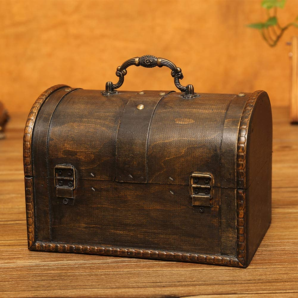 8.5x4.9inch Vintage Style Wooden Storage Box,Bedroom Storage Trunk with Lock,Decorative Pirate Treasure Chest,3 Colors-a 21.5x12.5cm