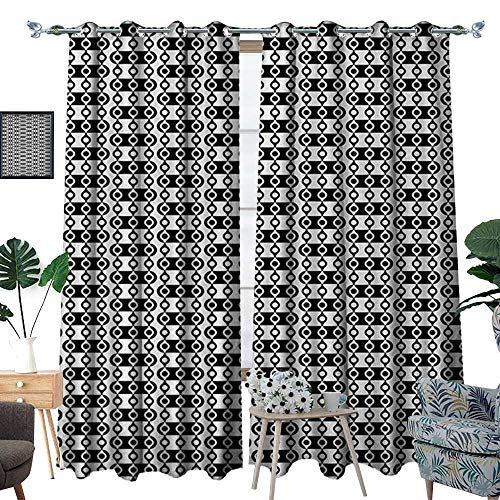 - RenteriaDecor Abstract Patterned Drape for Glass Door Monochrome Stripes Oval Shapes Geometric Illustration Minimalist Modern Art Waterproof Window Curtain W108 x L84 Black and White