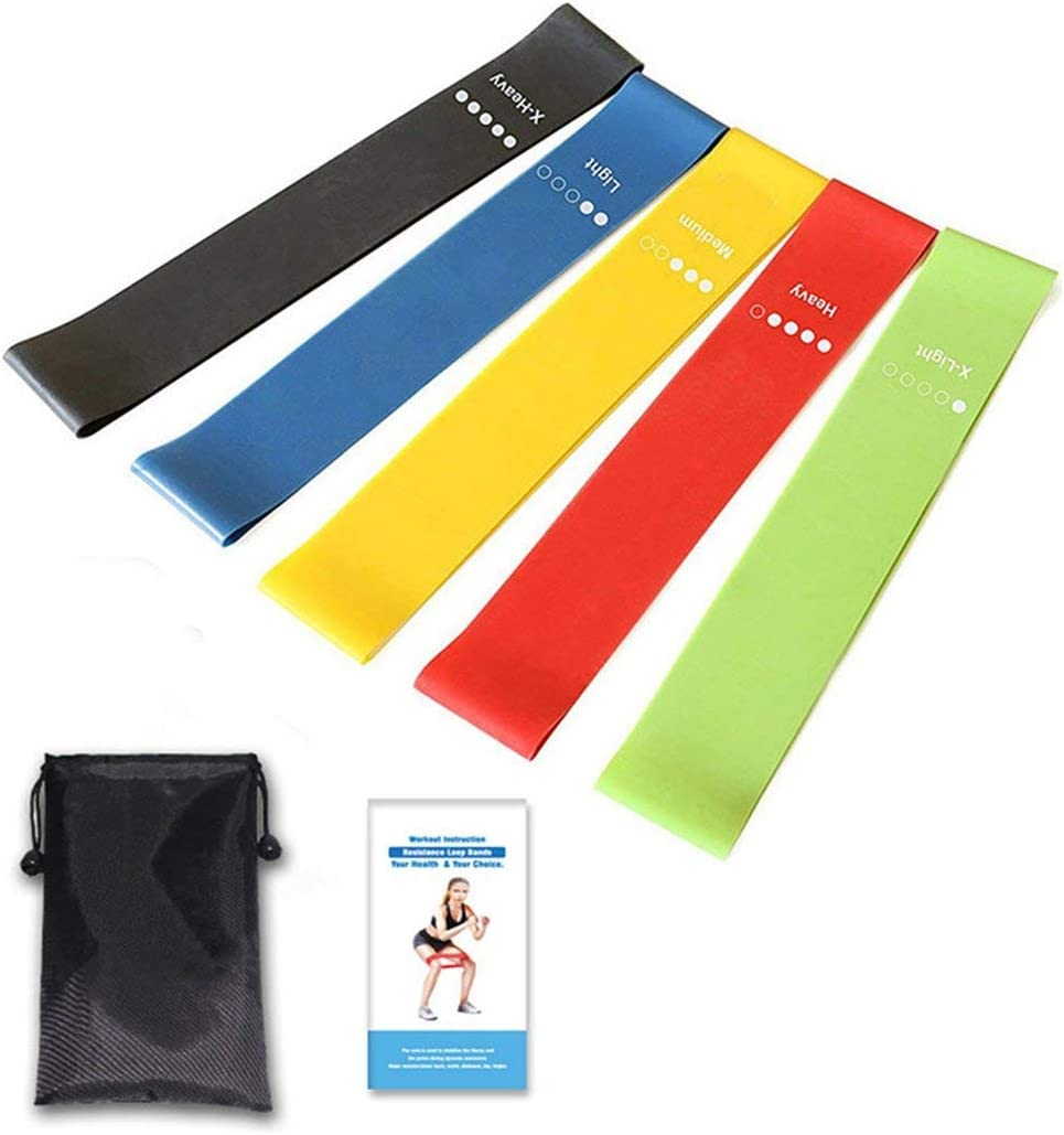 Lamica Exercise Resistance Loop Bands Set of 5 Workout Bands Fitness Equipment with Carry Bag for Legs Butt Arms Yoga Pilates