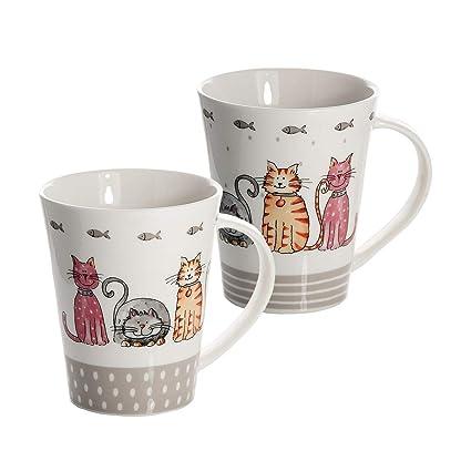 Set 2 Tazze Caffè E Latte Tè The Porcellana Disegno Del Gatto