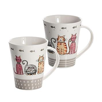 Tazas - Juego 2 Tazas de cáramica Porcelana para café té, Tazas de Desayuno Grandes