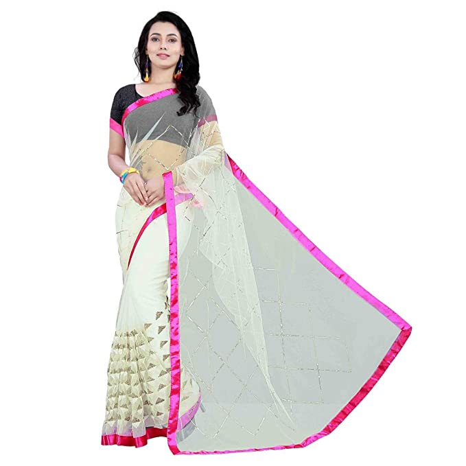 8378895c72edbc SilverStar Women s Nylon Mono Net Embroidery Work Off-White Color Pink  Border Saree With Banglori Sequence Work Blouse Piece  Amazon.in  Clothing    ...