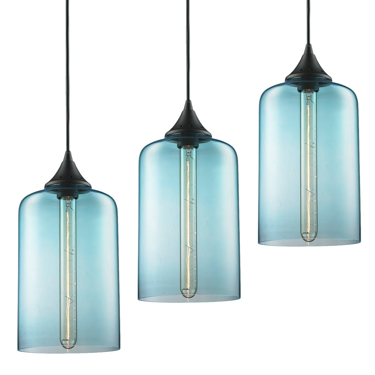 3-Pack Modern Industrial Vintage Glass Globe Pendant Light - MKLOT Minimalist Eco-Power Edison Style 7.09'' Wide Hanging Chandelier Ceiling Lighting Mounted Fixture with Blue Glass