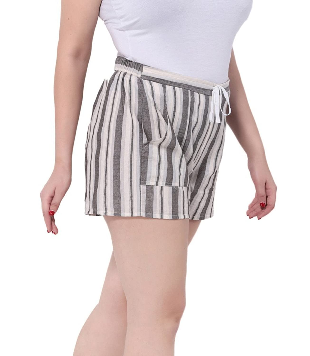 Toyobuy Women Plus Size Retro Stripe Elastic Beach Summer Shorts Sky Blue
