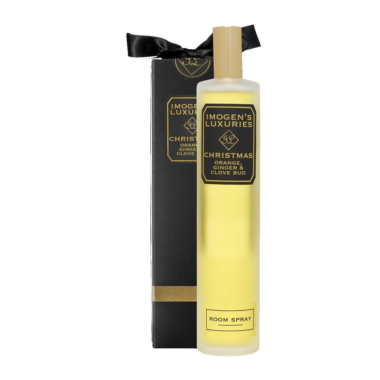 'Christmas' Handmade Aromatherapy Room Spray with Orange, Clove, Cinnamon & Ginger Essential Oils. More Fragrance per Bottle than Eau de Parfum! 100ml Clear Glass Bottle. Gift Boxed