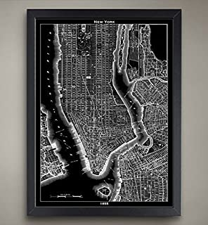 Amazon framed art print blueprint map new york by susan new york city map print home or office decor malvernweather Gallery