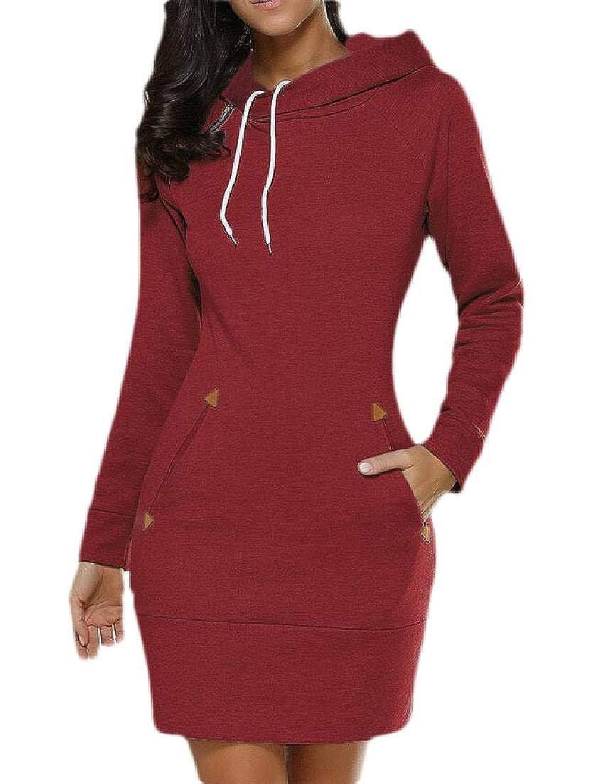 Frieed Women Slim Fit Long Sleeve Dresses Drawstring Pockets Tops Sweatshirts Hoodie