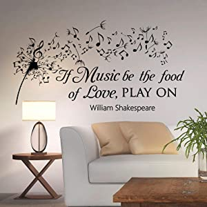 Dandelion Vinyl Wall Decal Decor Music Quotes If Music Be The Food Of Love Play On William Shakespeare Vinyl Wall Decal Decor Quote Music Notes Vinyl Lettering Made in USA Large Home Wall Decals Quote