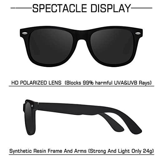 2de24c7604 Amazon.com  Sunglasses for Men- wearpro Retro Vintage Polarized Mens Sun  Glasses WP1001-2 (B Bright Black)  Clothing