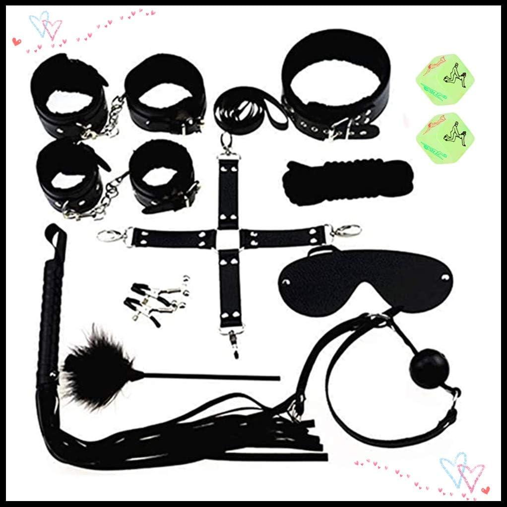 sensensen Kit de Cuero Ajustable y extraíble con Forro de Pelo (Negro, Juego de 12 Piezas)