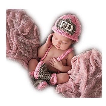 a08e9c2d0 Newborn Baby Girl Boy Photo Shoot Props Outfits Crochet Knit Cute Fireman  Caps Pants Shoes Photography