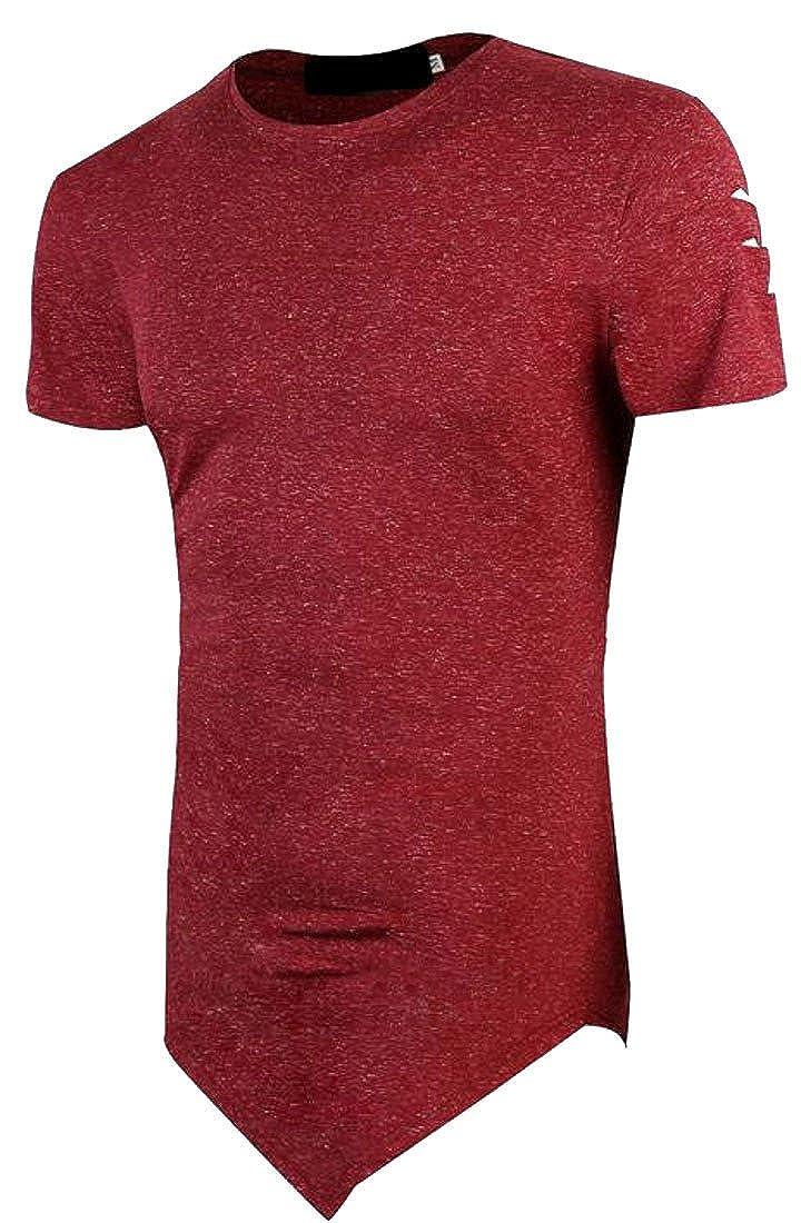JSY Men Hip-Hop Short Sleeve Summer Tunic Hole Broken Hole T-Shirts