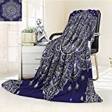 AmaPark Digital Printing Blanket India Ornament Round Inspired and White Summer Quilt Comforter