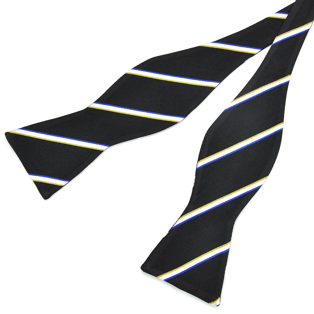 PenSee Mens Silk Self Bow Tie Woven Fashion Stripe Bow Ties-Various Colors