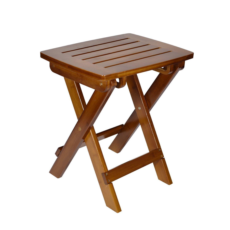 Geboor Taburete de bambú portátil Taburete impermeable para el juego de ducha Taburete plegable de pie para la pesca de picnic Marrón oscuro