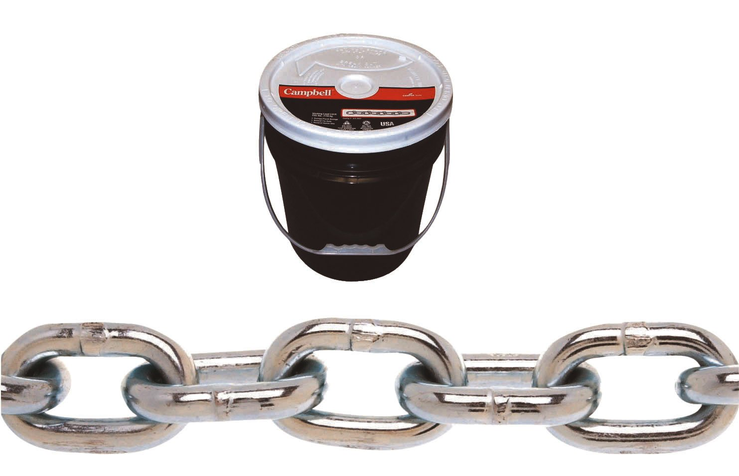 CAMPBELL 0140423 System 3 Grade 30 Low Carbon Steel Proof Coil Chain in Round Pail, Zinc Plated, 1/4-Inch Trade, 0.26-Inch Diameter, 141-Feet Length, 1300-Pound Load Capacity 1/4 Inch Trade 0.26 Inch Diameter 141' Length 1300 lbs. Load Capacity