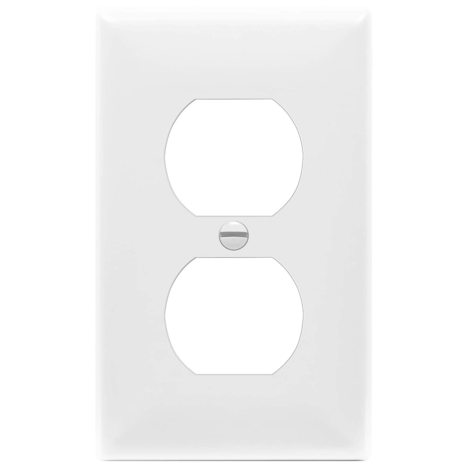 Enerlites 8821-W Duplex Receptacle Outlet Wall Plate, Standard Size 1-Gang, Polycarbonate Thermoplastic, White