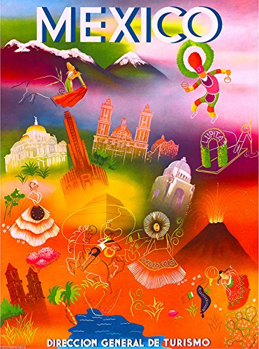 Mexico Mexican Latin American Vintage Travel Advertisement Art Poster