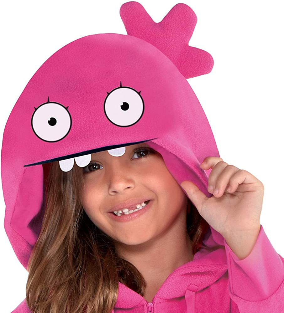 Childs Girls UglyDolls Pink Moxy Doll Hooded Jumpsuit Costume