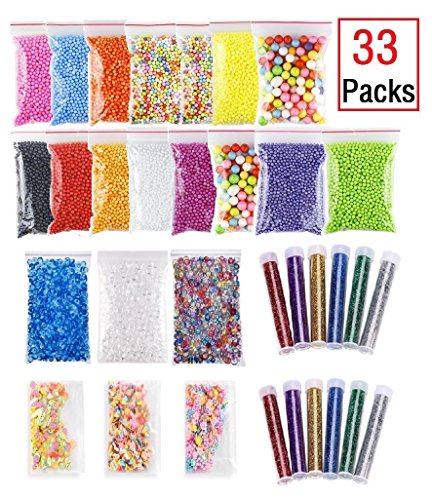 (33 Pack Slime Making Kits Supplies, Fishbowl Beads, Foam Balls, Glitter Shake Jars, Fruit Flower Candy Slices Accessories, DIY Art Craft for Homemade Slime Party)