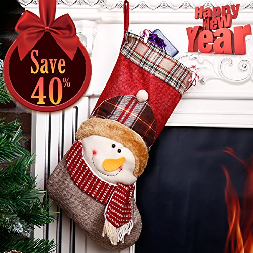 Christmas Stocking 3D Snowman Holiday Week Christmas Day Gift Bag Plush Classic Traditional Plaid Adorable Cute Holiday Decoration Ornament Decorate Your Home for Party Office Xmas Tree 18 inch