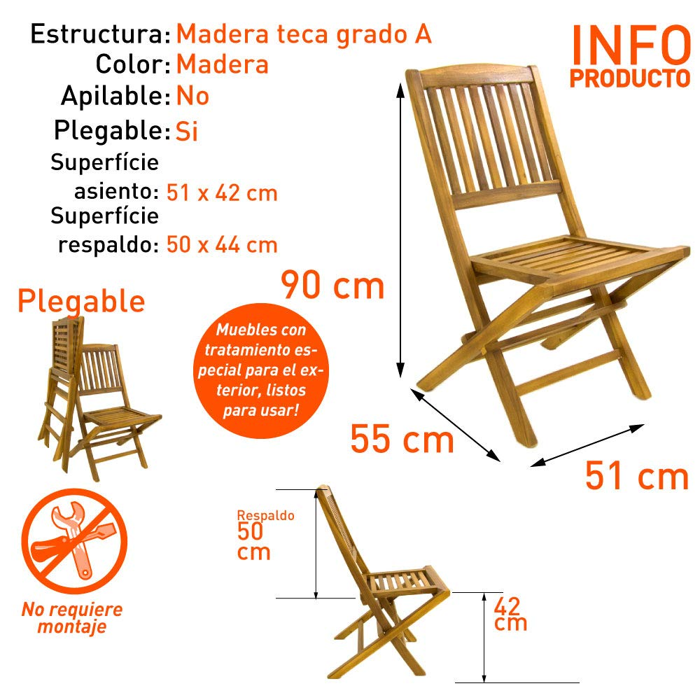 Silla jardín Teca Plegable, Madera Teca Grado A, Tamaño: 51x55x90 cm, Tratamiento al Agua aplicado