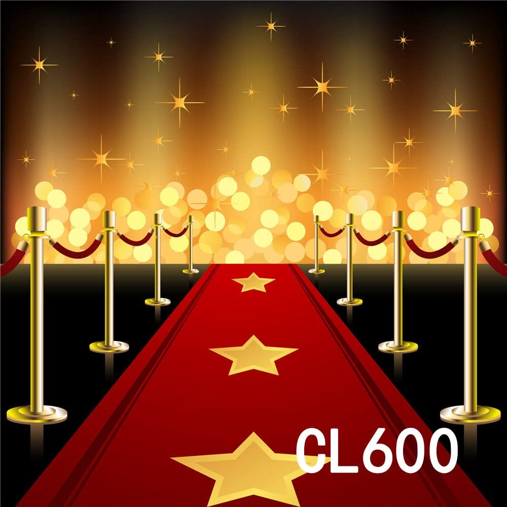 LB 10x10ft Red Carpet Backdrop for Photography Golden Star Award Ceremony Stage Fence Vinyl Photoraphy Background for Wedding Graduation Event Birthday Party Customized Photo Backdrops Studio Props