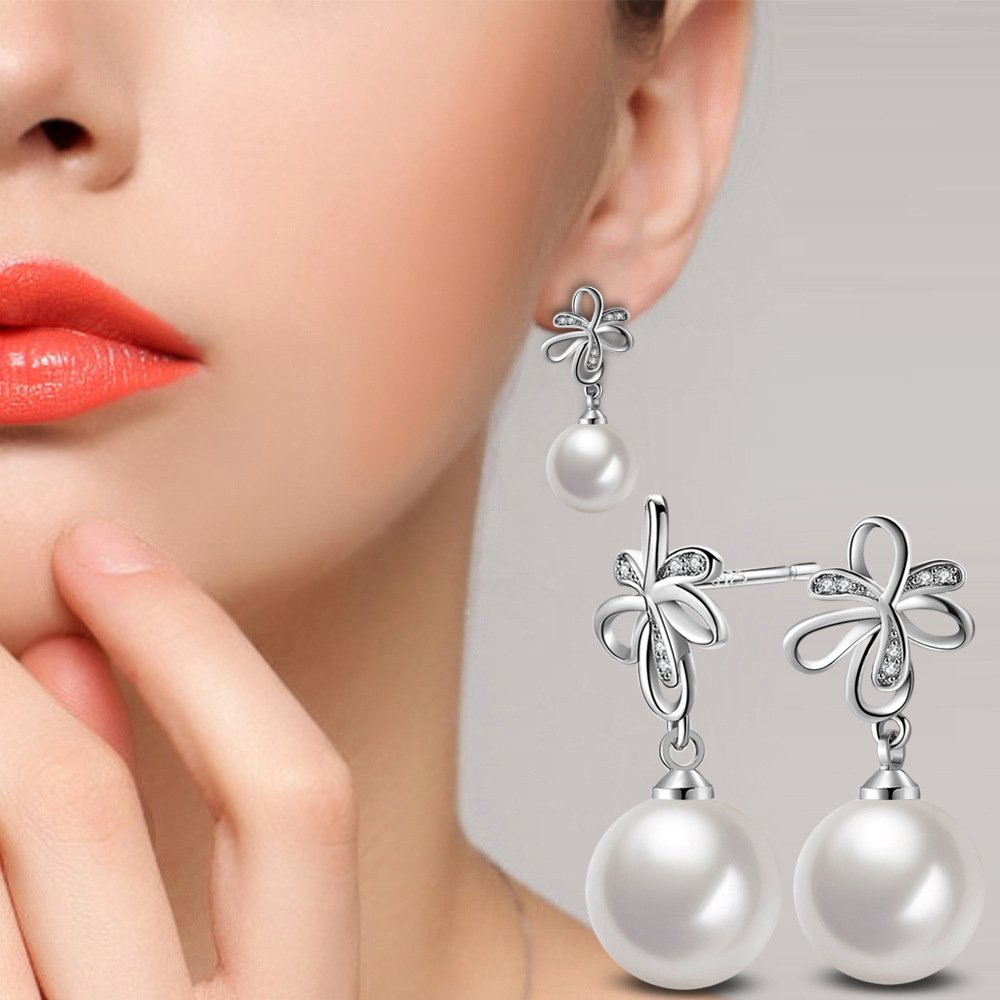 DYbaby Fashion Crystal Pearl Earrings /& Opal Earrings Pearl Pendant Dangle Earrings for Her