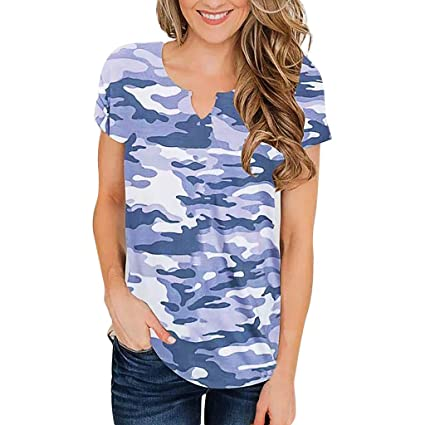 9ade65d909f003 Image Unavailable. Image not available for. Color: Camouflage V Neck T  Shirts Womens Casual Short Sleeve Tunics Tops Summer Loose Camo Tees Pocciol