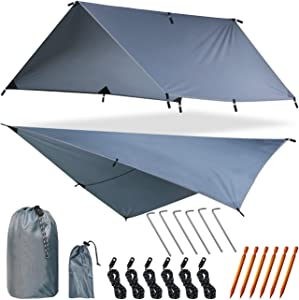 Yztree Fly Tent Tarp Hammock Fly Tent Lightweight Backpacking Camping Shelter 10.5 x10ft Include More Accessories for Various Weather Conditions Fly Tent Tarp