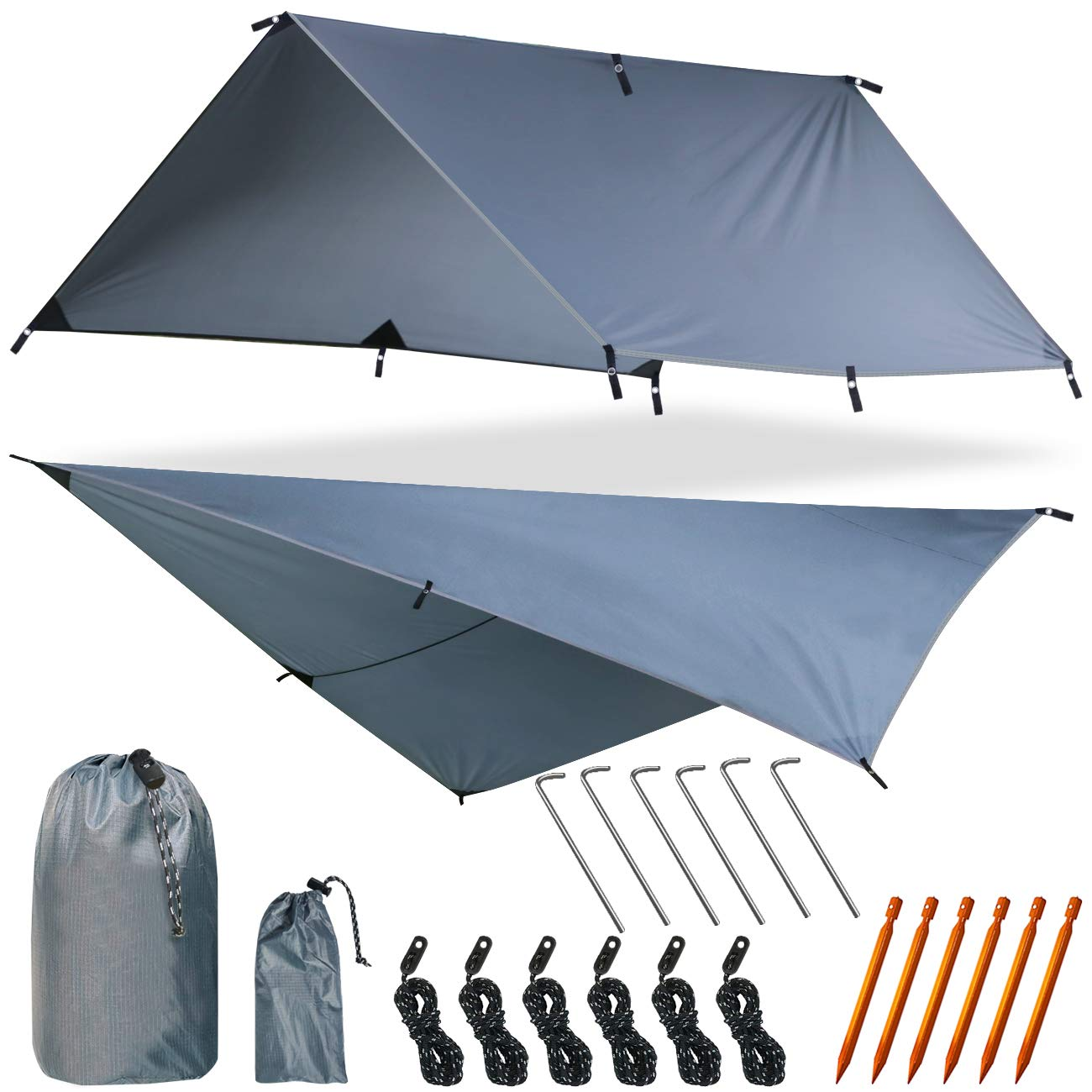 Yztree Fly Tent Tarp Hammock Fly Tent Lightweight Backpacking Camping Shelter 10.5 x10ft Include More Accessories for Various Weather Conditions Fly Tent Tarp(Gray) by Yztree