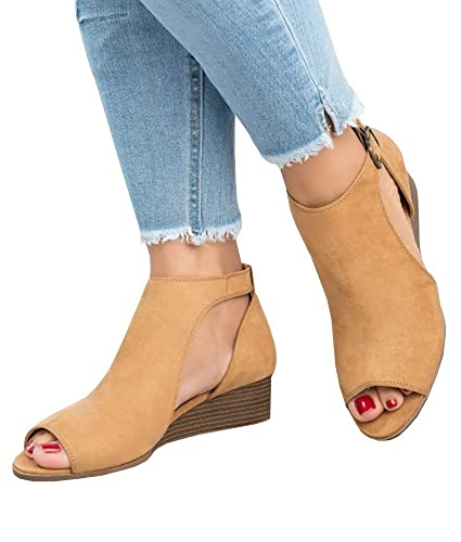 Pxmoda Damen Sandalen mit Keilabsatz Peep Toe Wildleder Schuhe