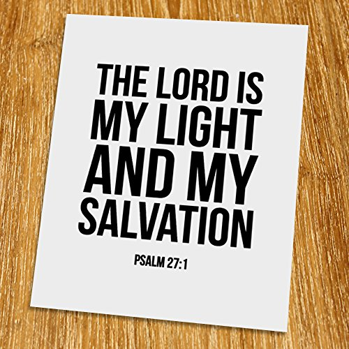 Psalm 27: 1 The Lord is my light Print (Unframed), Scripture Art, Bible Verse Print, Christian Wall Art, Word of Wisdom, Black and White, 8x10