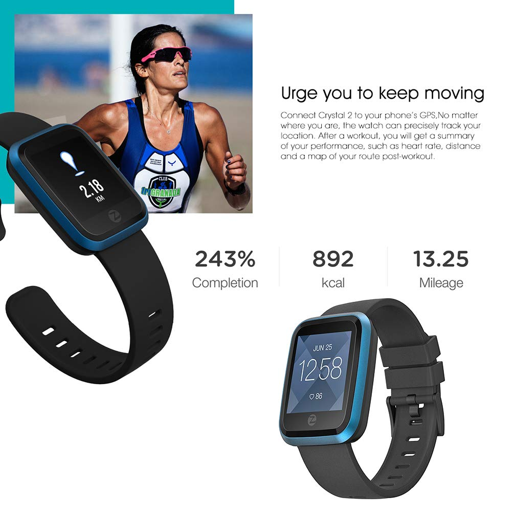 Amazon.com: Zeblaze Crystal 2 Smart Watch IP67 Waterproof ...