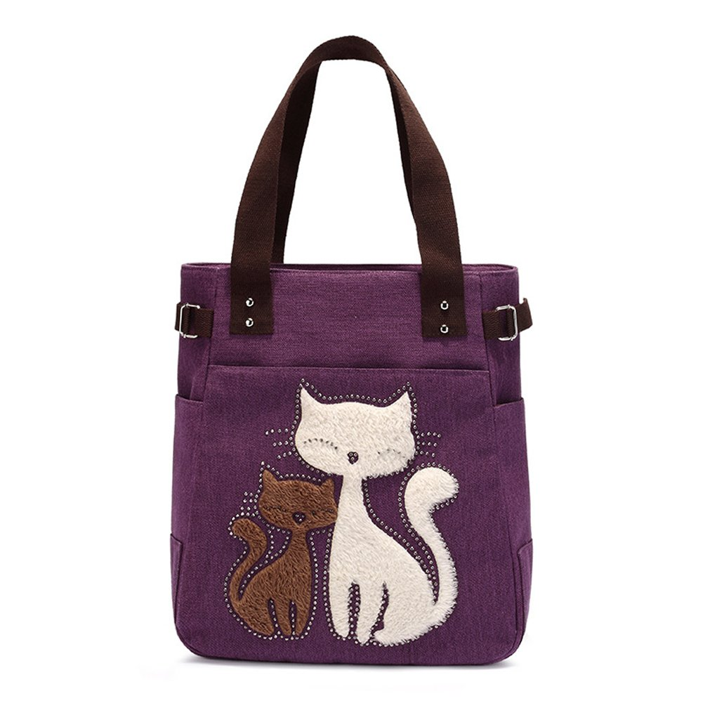 Myosotis510 Cute Big Eyes Cat Canvas Shoulder Bag Handbag