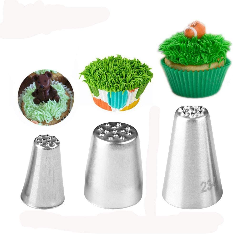 Genenic Icing Piping Nozzles Tips,3Pcs Stainless Steel Russian Grass Cream Tips DIY Decor Baking Tool for Cake Fondant Cupcake Buttercream Decoratio (SET)