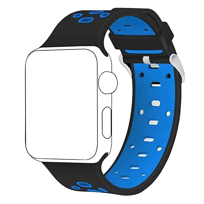 Band for Apple Watch 42mm,Langte Soft Silicone Apple Watch Band for Apple Watch Series 3, Series 2, Series 1, Sport, Edition(Black/Blue)