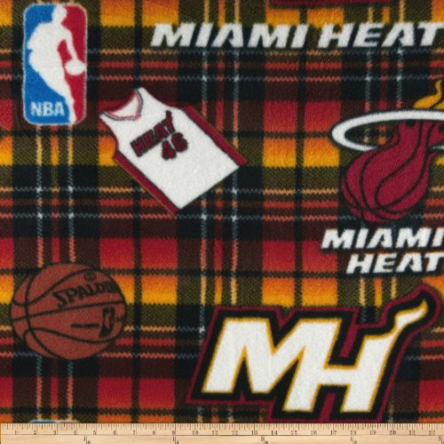 Camelot Throw - CAMELOT Fabrics NBA Fleece Miami Heat Multi Fabric by The Yard, Multicolor