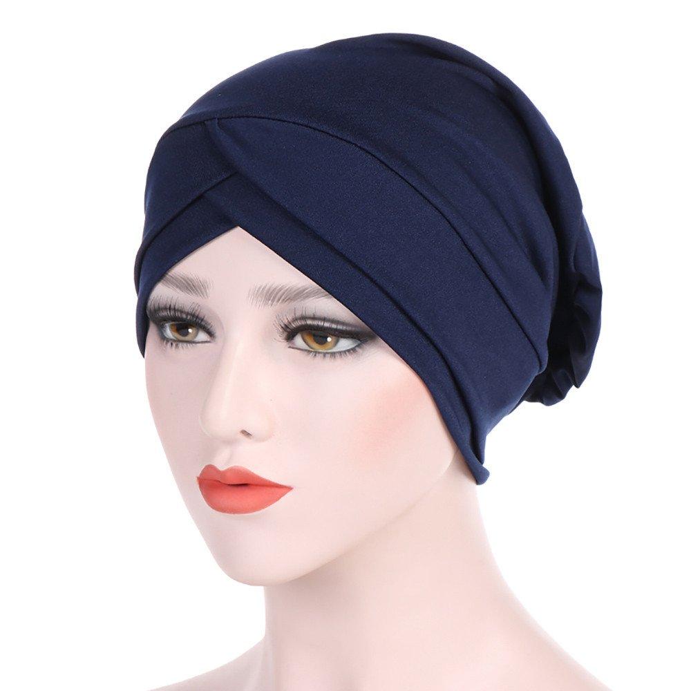 WYTong New Arrival! Women Muslim Hijab Cap Ladies Turban Hat Solid Color Stretch Soft Headwrap Headwear(Navy)