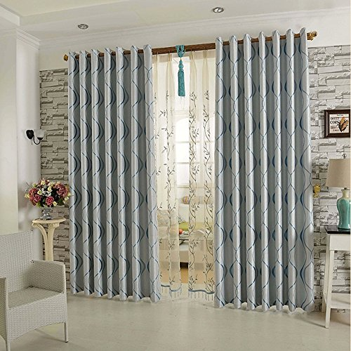 Blue 1Panel Curtains for Bedroom - KoTing Blackout Geometric Window Curtains and Drapes Grommet 84 inch length
