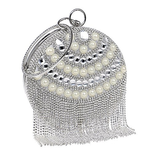 omen Evening Bag Round Party Pearl Lady Day Clutch Purse Bag Chain Shouder Rhinestones Handbags, silver ()