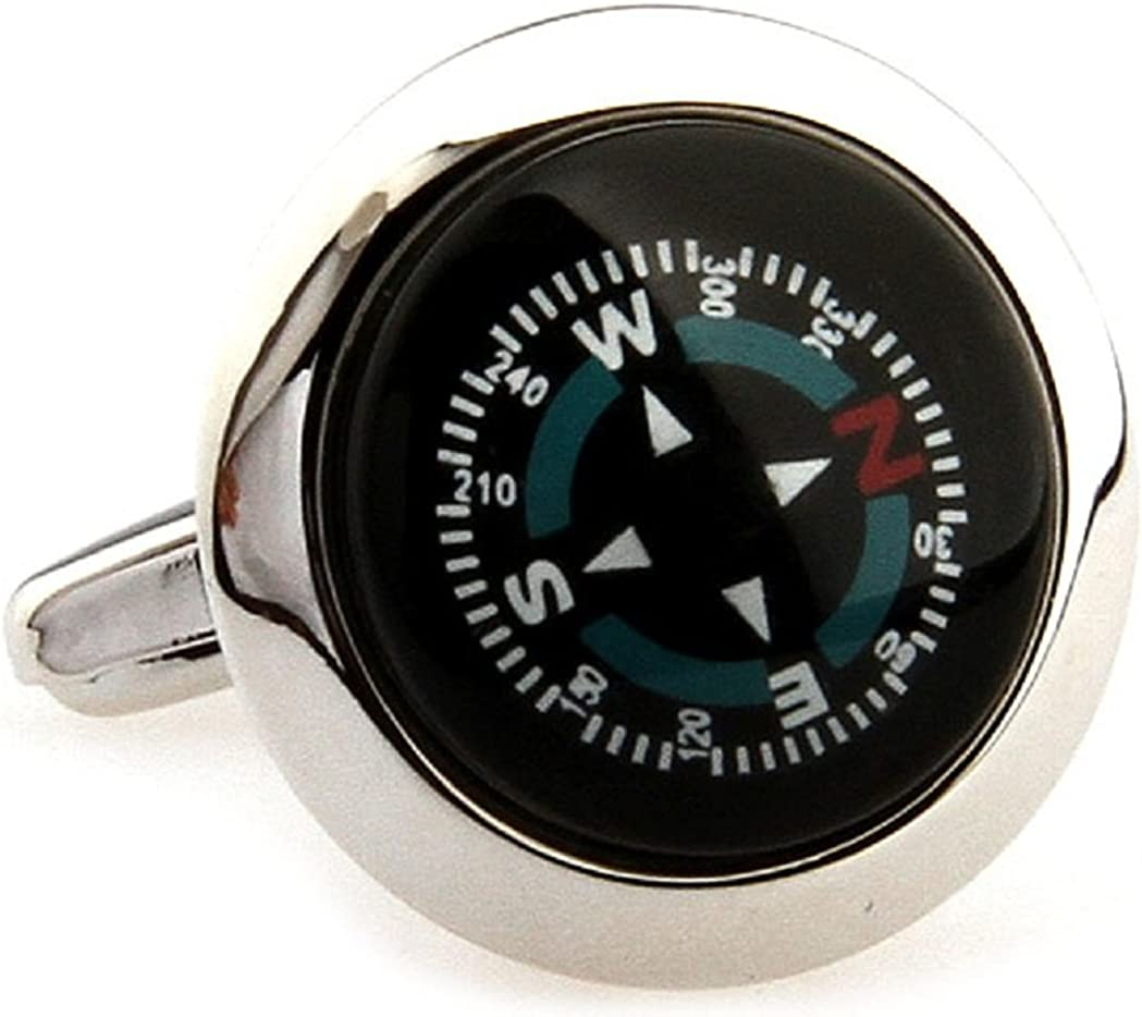 MRCUFF Presentation Gift Box Compass Really Works Ship Boat Pair Cufflinks & Polishing Cloth …