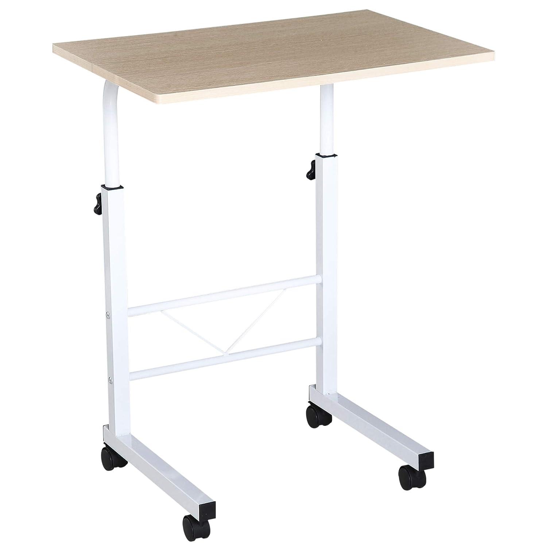 Homcom Table pour Ordinateur Table Informatique dim. 60L x 40l x 68-78H cm Hauteur ré glable 4 roulettes Blanc é rable