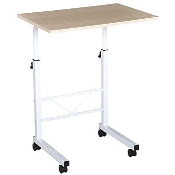HOMCOM Mesa de Ordenador Escritorio de Computadora para Hogar Oficina Altura Ajustable Mesa Compacta con Ruedas 60x40x68-78cm Color Blanco: Amazon.es: ...